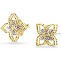 shop for Roberto Coin Princess Flower 18ct Bi-Colour Gold Diamond Stud Earrings at Shopo