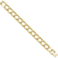 9ct Heavy Plain Polished Cast 9 Inch Curb Bracelet