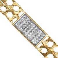 9ct Gold Polished Cast Cz Double 7.5 Inch Curb Bracelet
