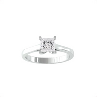 9ct White Gold 0.33cttw Princess Cut Diamond Ring - Ring Size A.5