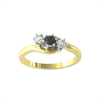 9ct Yellow Gold Sapphire And Diamond 3 Stone Ring - Ring Size M