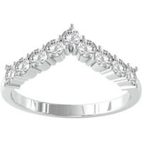 9ct White Gold 0.45cttw Brilliant Cut Diamond Wishbone Ring - Ring Size X