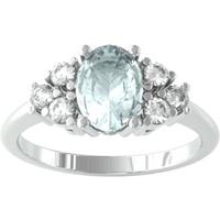 9ct White Gold Aquamarine and Brilliant Cut Diamond Ring - Ring Size G