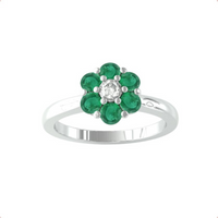 9ct White Gold Emerald and Diamond Cluster Ring - Ring Size X