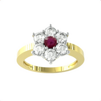 9ct Yellow Gold Ruby and Diamond Cluster Ring - Ring Size U