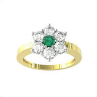 9ct Yellow Gold Emerald and Diamond Cluster Ring - Ring Size P.5