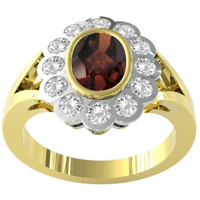 9ct Yellow and White Gold Garnet and Diamond Cluster Ring. - Ring Size N