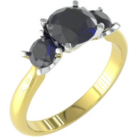 9ct Yellow and White Gold 3 Stone Sapphire Ring. - Ring Size K