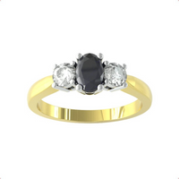 9ct Yellow and White Gold 3 Stone Sapphire and Diamond Ring - Ring Size A