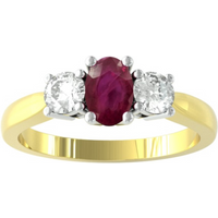 9ct Yellow and White Gold 3 Stone Ruby and Diamond Ring - Ring Size M