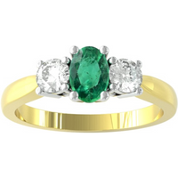 9ct Yellow and White Gold 3 Stone Emerald and Diamond Ring - Ring Size W.5
