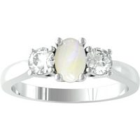 9ct White Gold 3 Stone Opal and Diamond Ring - Ring Size T.5