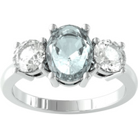 9ct White Gold 3 Stone Aquamarine and Diamond Ring - Ring Size K