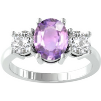 9ct White Gold 3 Stone Amethyst and Diamond Ring - Ring Size K.5