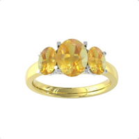 9ct Yellow and White Gold 3 Stone Citrine Ring - Ring Size P