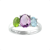 9ct White Gold 3 Stone Peridot, Amethyst and Topaz Ring - Ring Size Q