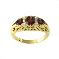 9ct Yellow Gold Victorian Style 3 Stone Garnet and Diamond Ring - Ring Size R.5