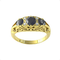 9ct Yellow Gold Victorian Style 3 Stone Sapphire and Diamond Ring - Ring Size H.5
