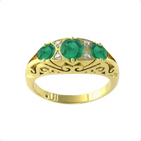 9ct Yellow Gold Victorian Style 3 Stone Emerald and Diamond Ring - Ring Size M.5