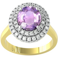 9ct White Gold Amethyst and Diamond Double Halo Cluster Ring - Ring Size E.5