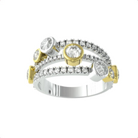 18ct Yellow and White Gold Diamond 1.81ct Diamond Bubble Ring - Ring Size S.5