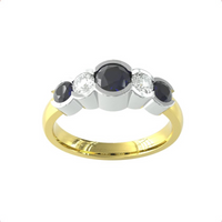 9ct Yellow Gold Sapphire And Diamond 5 Stone Ring - Ring Size B.5