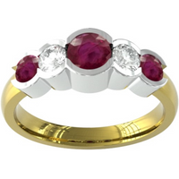 18ct Yellow Gold Ruby And Diamond 5 Stone Ring - Ring Size T.5