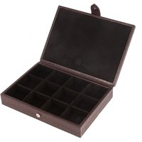 shop for Brown Leather 12 Piece Cufflink Box at Shopo