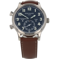 Pre-Owned Patek Philippe Calatrava Pilot Travel Time Mens Watch 5524G-001