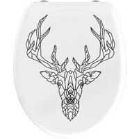 welltime WC-Sitz Geometric Deer, hochwertiger abnehmbarer Premium-Toilettendeckel mit Absenkautomatik, Bruchsicher und kratzfest, mit Schnellverschluss, weiß, geeignet für alle handelsüblichen WC's