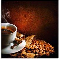 Artland Glasbild Kaffeetasse mit Kaffebohnen