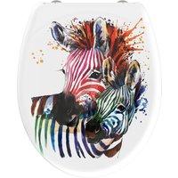 welltime WC-Sitz Zebra, hochwertiger abnehmbarer Premium-Toilettendeckel mit Absenkautomatik, Bruchsicher und kratzfest, mit Schnellverschluss, bunt, geeignet für alle handelsüblichen WC's