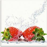 Artland Glasbild Erdbeeren mit Spritzwasser, Lebensmittel, (1 St.)