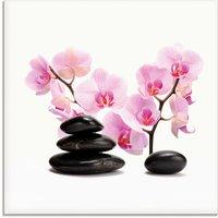 Artland Glasbild Schwarze Steine und pink Orchidee, Zen, (1 St.)