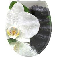 welltime WC-Sitz White Flower, hochwertiger abnehmbarer Premium-Toilettendeckel mit Absenkautomatik, Bruchsicher und kratzfest, mit Schnellverschluss, geeignet für alle handelsüblichen WC's, Motiv Orchidee mit Zen-Steinen