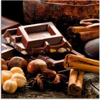 Artland Glasbild Schokolade mit Zutaten