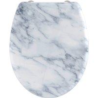 welltime WC-Sitz Marble, hochwertiger abnehmbarer Premium-Toilettendeckel mit Absenkautomatik, Bruchsicher und kratzfest, mit Schnellverschluss, geeignet für alle handelsüblichen WC's, Motiv Marmor weiß