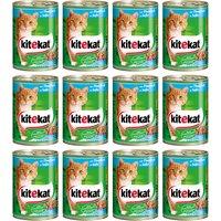 Kitekat Nassfutter Rind in Sauce, (Set, 12), für Katzen, 12 Dosen á 400 g