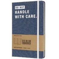 "Moleskine Notizbuch - Denim, L/A5, Liniert, Hard Cover, ""Handle with care"""