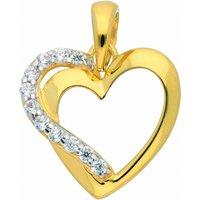 Adelia´s Kettenanhänger 333 Gold Anhänger Herz mit Zirkonia, Goldschmuck für Damen - Angebote