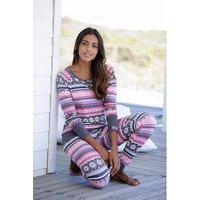 BENCH. Damen Pyjama grau-gemustert Gr.44/46
