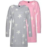 ARIZONA Nachthemd Damen grau-rosa Gr.32/34