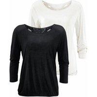 BEACHTIME 3/4-Arm-Shirt Damen schwarz+creme Gr.40/42