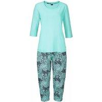 BUFFALO Damen Capri-Pyjama mint-gemustert Gr.56/58