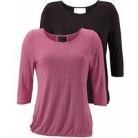 LASCANA 3/4-Arm-Shirt Damen beere-gemustert+schwarz-uni Gr.40/42