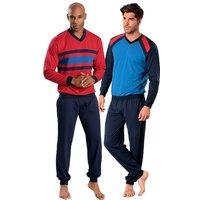 Herren Pyjama rot-marine+blau-marine Gr.60/62