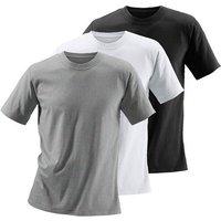 Herren Rundhalsshirt grau-meliert+schwarz+weiß Gr.6/L