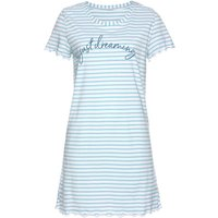 Damen Sleepshirt gestreift-weiß-hellblau Gr.44/46