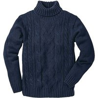 Chunky Cable Knit Polo Neck