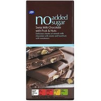 Boots No Added Sugar Milk Chocolate With Fruit & Nuts 100g